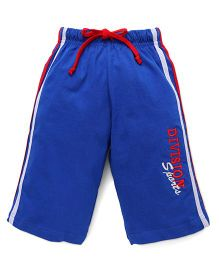 Taeko Three Fourth Pants Bermuda Pants With Division Sports Print - Royal Blue