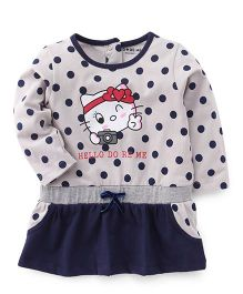 Doreme Full Sleeves Dotted Frock Kitty Print - Grey Navy