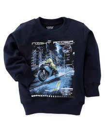 Doreme Full Sleeves Winter Wear Tee With Night rider Print - Navy
