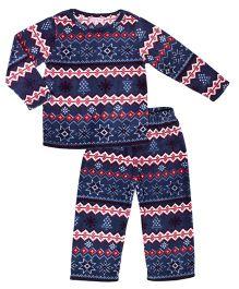 CrayonFlakes Jacquard Polar Fleece Top & Bottom Set - Navy Blue