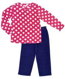 CrayonFlakes Polka Dot Print Fleece Top & Bottom Set - Magenta & Navy Blue