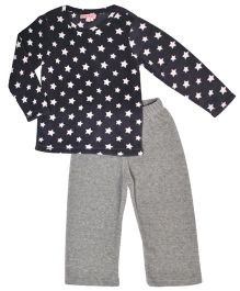 CrayonFlakes Star Print Fleece Top & Bottom Set - Grey & Black