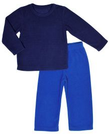 CrayonFlakes Super Soft Fleece Top & Bottom Set - Navy Blue & Blue