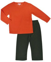CrayonFlakes Super Soft Fleece Top & Bottom Set - Orange & Green
