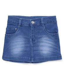Babyhug Denim Skirt With Whiskers - Medium Blue