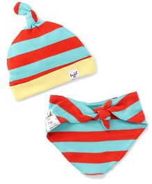 Pinehill Knotted Cap And Bib Set Stripes Print - Orange Green