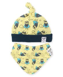 Pinehill Cap and Bib Set Superhero Print - Yellow