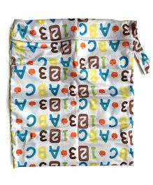ChuddyBuddy Wet Bag With Double Zipper Pockets Alphabet Print - White