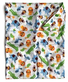 ChuddyBuddy Wet Bag With Double Zipper Pockets Zoo Print - White