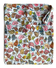 ChuddyBuddy Wet Bag With Double Zipper Pockets Birds Print - White