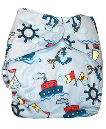 ChuddyBuddy Diaper Cover With Charcoal Bamboo Stay Dry Insert Bon Voyage Print - Light Blue