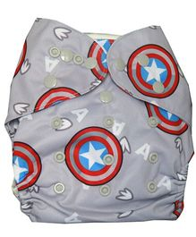 ChuddyBuddy Diaper Cover With Charcoal Bamboo Stay Dry Insert Star Print - Grey