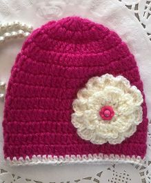 Buttercup From Knittingnani Cap With Big Blooming Flower - Dark Pink