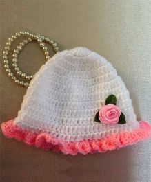 Buttercup From Knittingnani Ruffle Cap With Satin Flowers - White