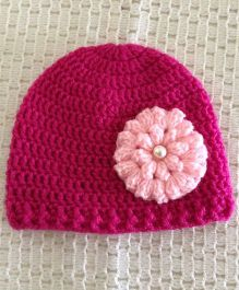 Buttercup From Knittingnani Cap With Popcorn Flower - Magenta Pink