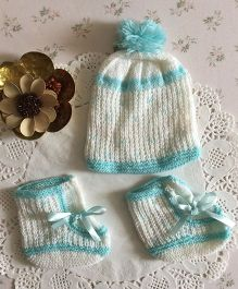 Buttercup From Knittingnani Cap & Socks Set - White & Turquoise