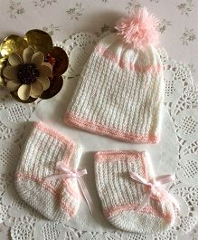 Buttercup From Knittingnani Cap & Socks Set - White & Pink