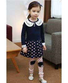 Teddy Guppies Long Sleeves Polka Dot Dress With Peter Pan Lace Collar - Blue & Pink