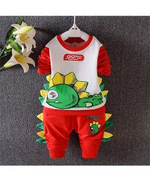 Teddy Guppies Round Neck Top And Bottom Set Crocodile Print And 3D Detailing - Red & White
