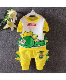 Teddy Guppies Round Neck Top And Bottom Set Crocodile Print And 3D Detailing - Yellow & White