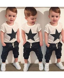 Teddy Guppies Star Print Trendy Tee & Pant Set - Black & White