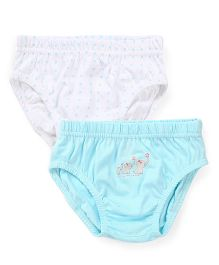 Babyhug Panties Elephant Print Pack Of 2 - White And Aqua Blue