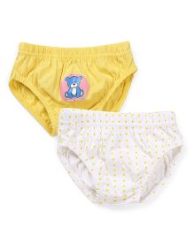 Babyhug Panties Teddy And Polka Dot Print Pack Of 2 - White And Yellow