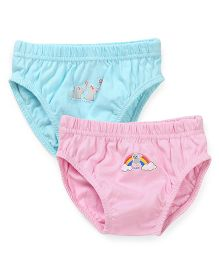 Babyhug Panties Rainbow & Elephant Print Pack Of 2 - Aqua Blue & Pink