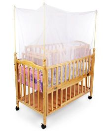 Mee Mee Wooden Baby Cot With Wheels Brown - MM 629B