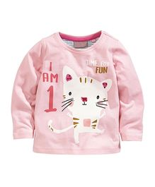 Teddy Guppies Full Sleeves T-Shirt Kitty Print - Pink