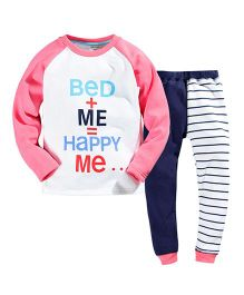 Teddy Guppies Full Sleeves Top And Bottoms Set Printed - Multi Color