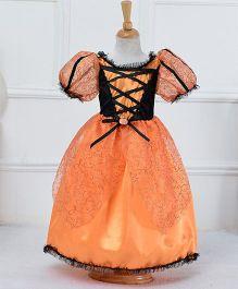 Teddy Guppies Balloon Sleeves Dress With Hat - Orange Black