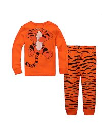 Teddy Guppies Full Sleeves Tiger Print Top And Bottom Set - Orange