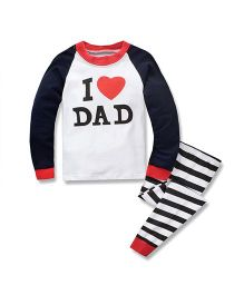 Teddy Guppies Full Sleeves Top And Bottoms Set I Love Dad Print - White Navy Blue
