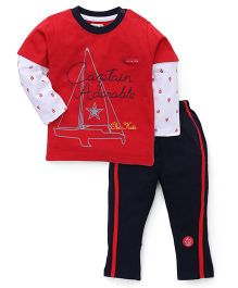 Olio Kids Full Sleeves Night Suit Captain Adorable Print - Red And Blue