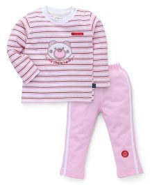 Olio Kids Full Sleeves Night Suit Teddy Patch - Pink