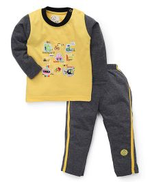 Olio Kids Full Sleeves Night Suit Vehicles Patch - Yellow And Grey
