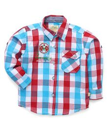 Olio Kids Full Sleeves Shirt Checks Print - Red And Blue