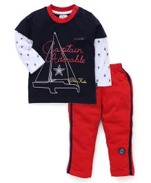 Olio Kids Full Sleeves Night Suit Captain Adorable Print - Blue And Red