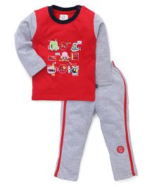 Olio Kids Full Sleeves Night Suit Vehicles Patch - Red And Grey