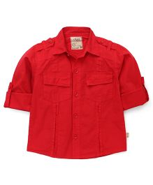 Olio Kids Full Sleeves Solid Shirt - Red