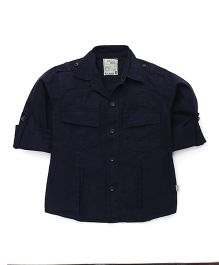 Olio Kids Full Sleeves Solid Shirt - Navy Blue