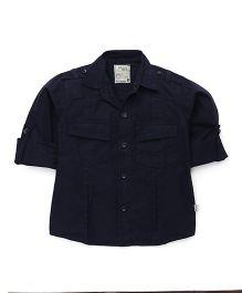 Olio Kids Full Sleeves Solid Shirt - Navy Blue