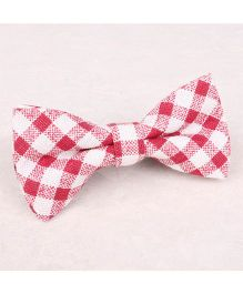 Little Cuddle Plaid Linen Bow Tie - Red