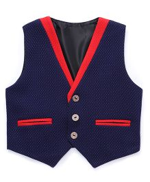 Robo Fry Party Wear Dotted Waistcoat - Blue Red