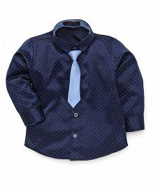 Robo Fry Full Sleeves Polka Dot Shirt With Tie - Navy Blue