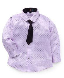Robo Fry Full Sleeves Polka Dot Shirt With Tie - Wine Lavender
