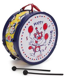 Luvely Musical Drum With Sticks - Yellow And Navy