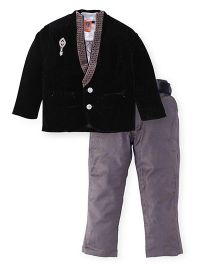 Kreesh 3 Piece Party Suit With Brooch - Black & Grey