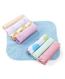 Babyhug Printed Wash Cloth Pack Of 8 - Multicolor